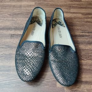 Sam & Libby Black and Gold Snakeskin Flats